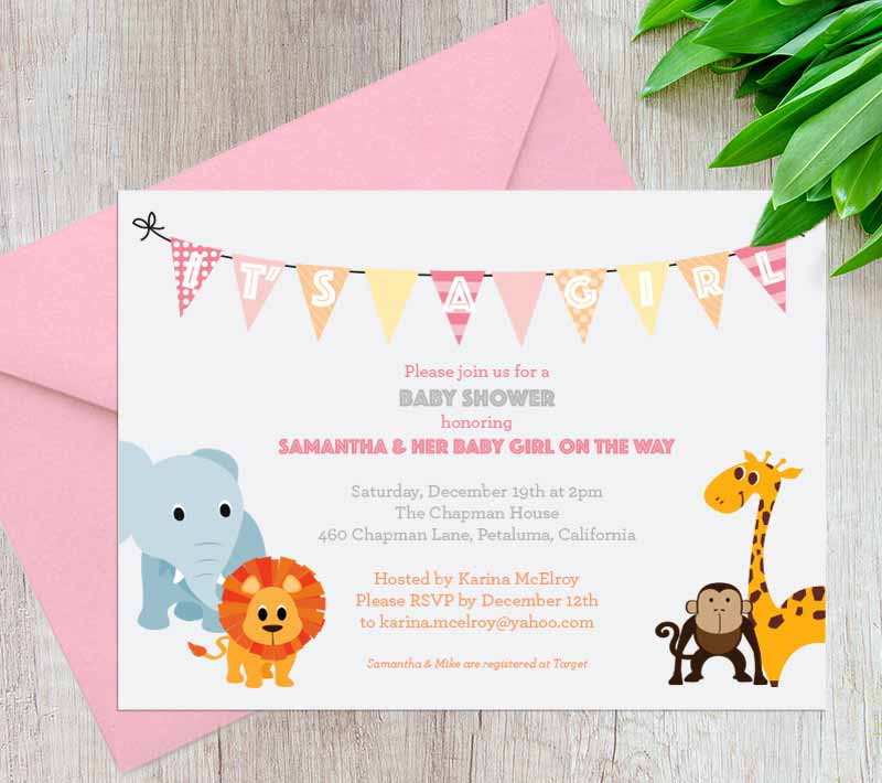 Baby Jungle Shower Invitation