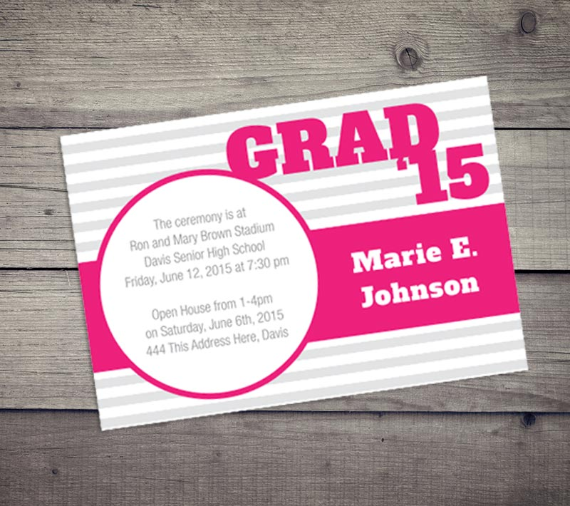 Stripes Grad Invitation
