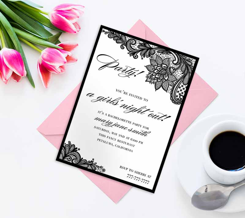 Black Lace Bachelorette Invitations