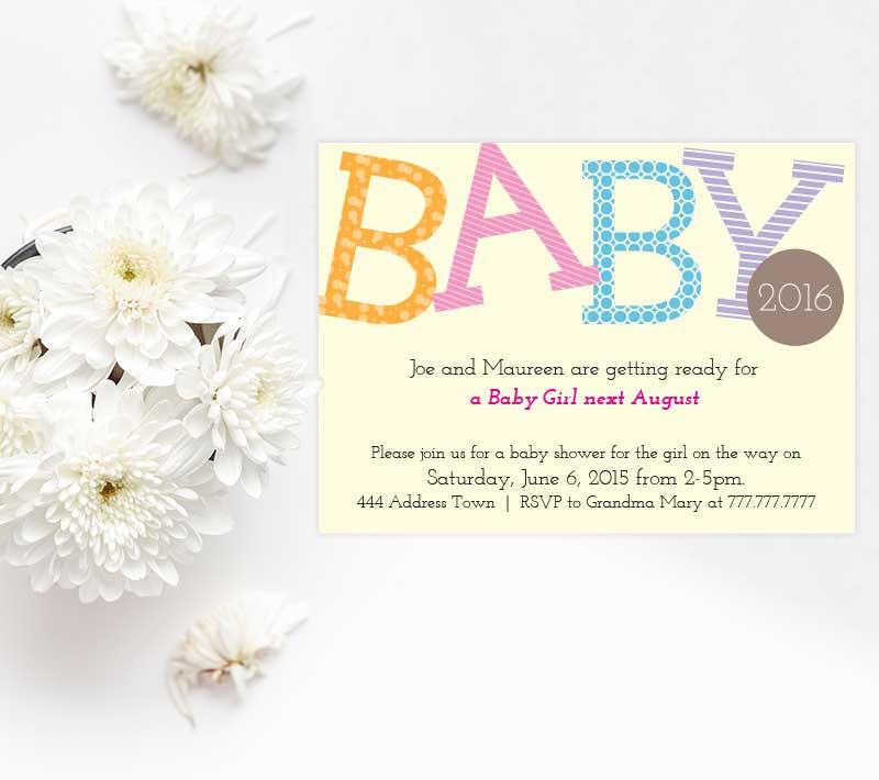 Nursery Alphabet Baby Announcement