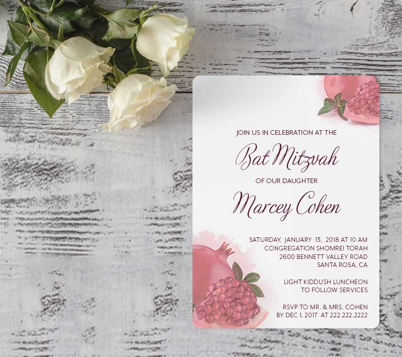 pomegranate bat mitzvah invitations