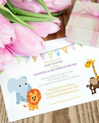 Baby Jungle Animal Shower Invitations