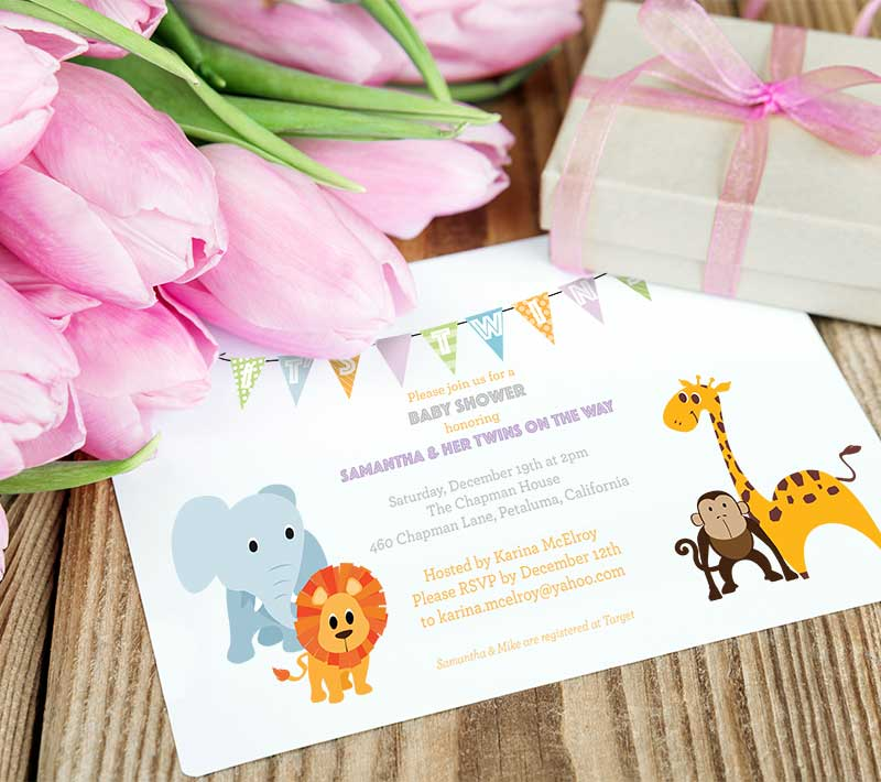Baby Jungle Animal Shower Invitations