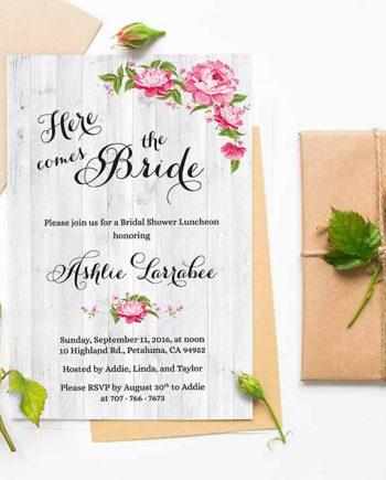 Here Come the Bride Shower Invitations