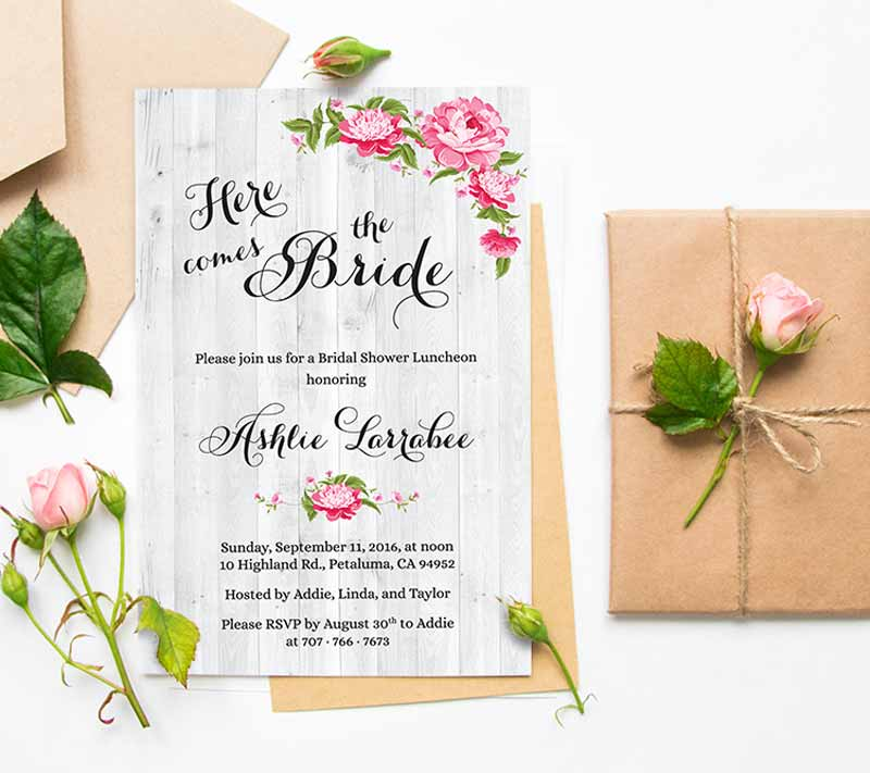 Here Come the Bride Shower Invitations