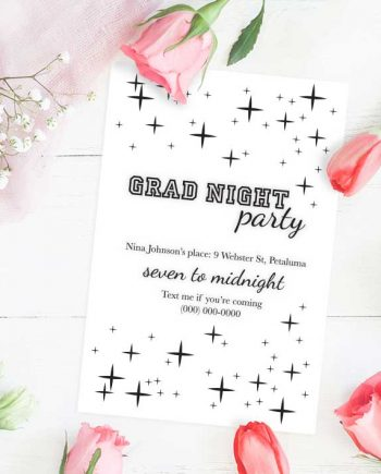 A Sparkling Grad Night Party Invitations