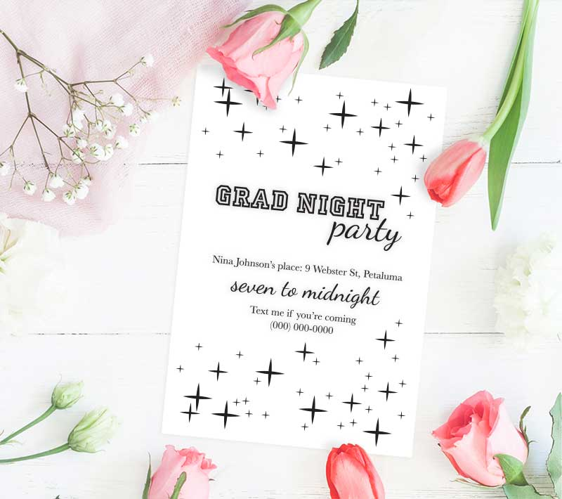 A Sparkling Grad Night Party Invitations