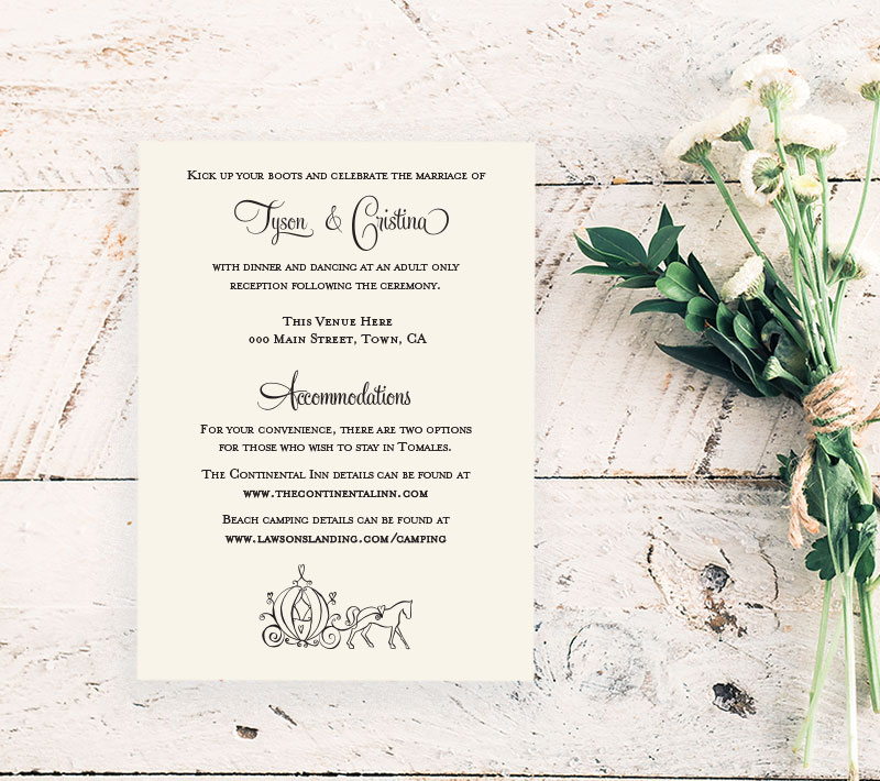 Country Princess Reception Card