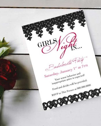 Gils' Night In Bachelorette Invitation