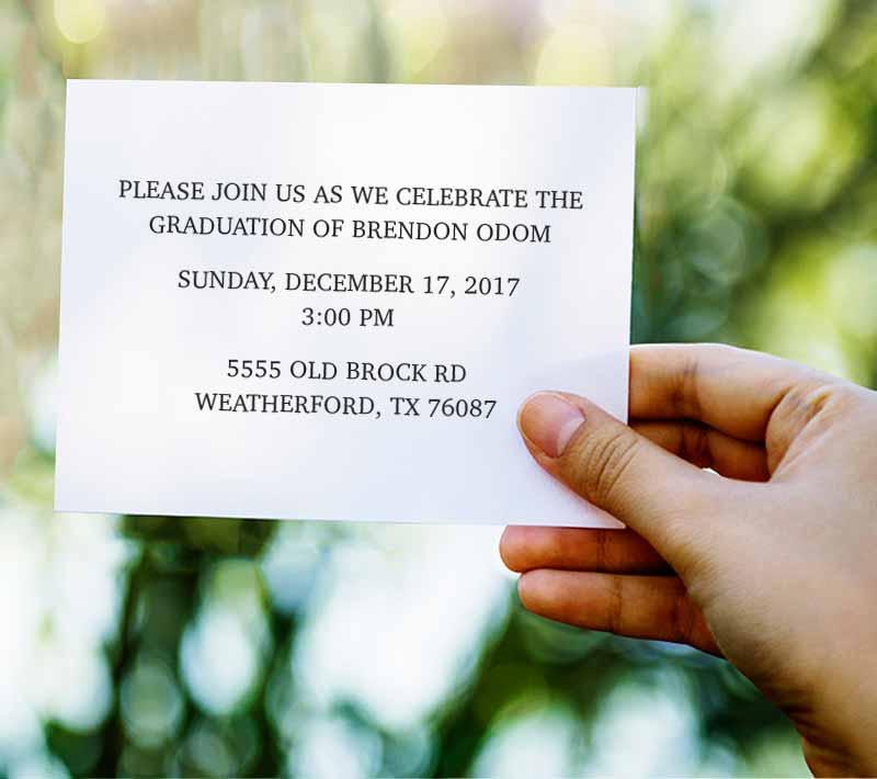 Graduation Invitation Insert