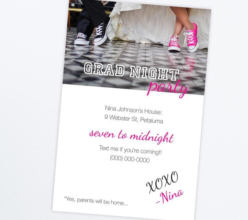 Hot Pink Grad Night Party Invitations