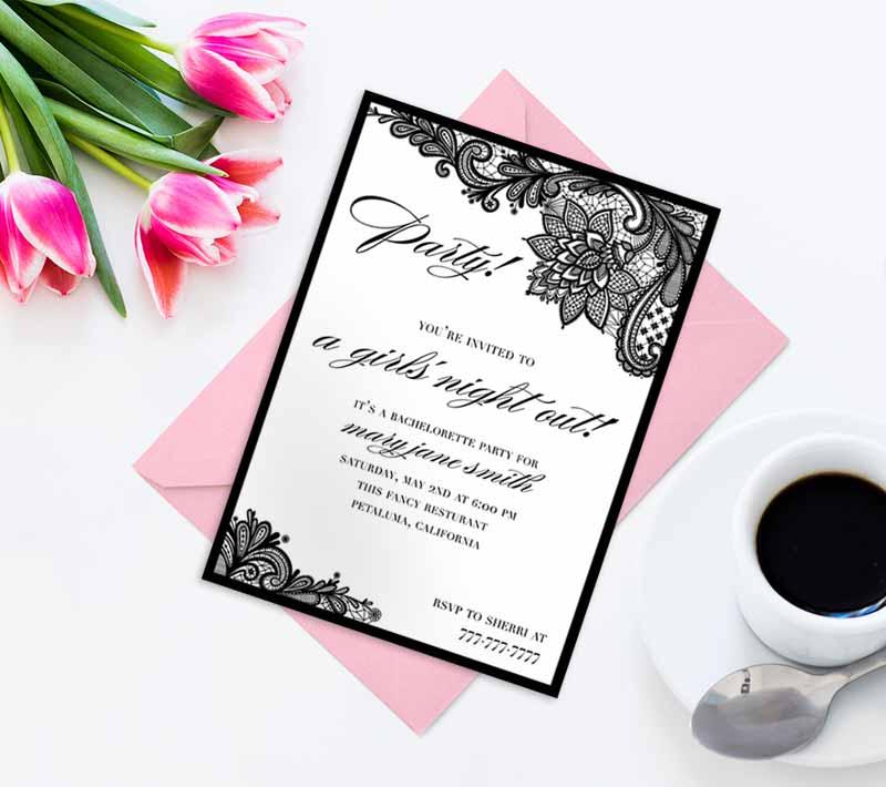 Black Lace Bachelorette Invitations