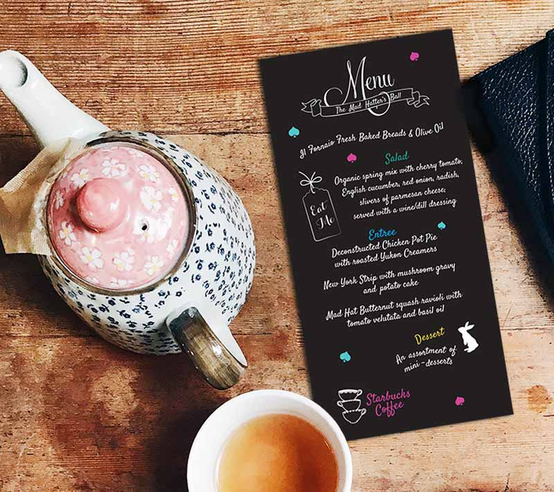 A Mad Hatter's Ball Menu