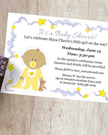 Purple Clouds Baby Shower Invitation