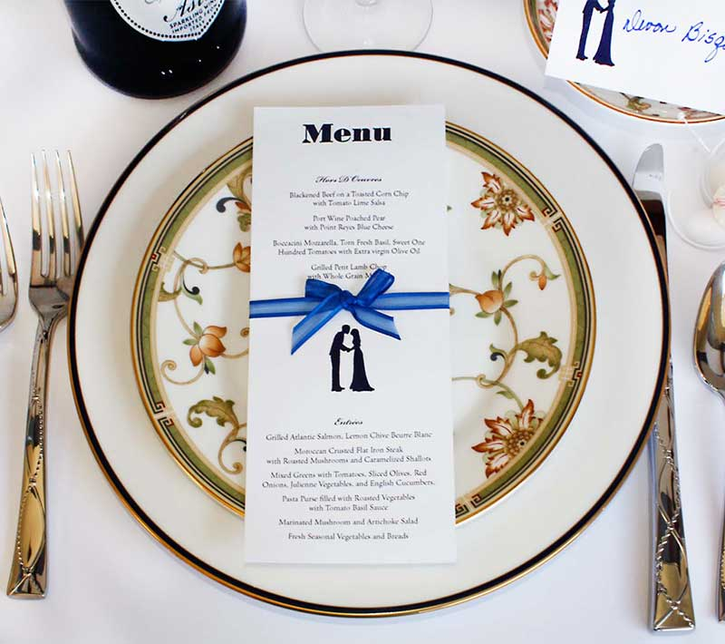 Wedding or event menu